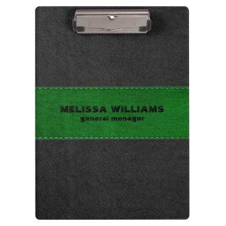 Image Of Black & Green Vintage Leather Stripes Clipboards