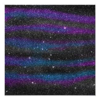 Image of Black Purple Blue Glitter Gradient Photo Print