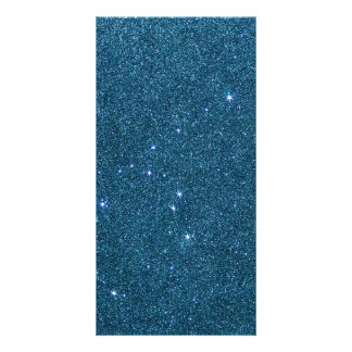 Image of blue trendy glitter photo card