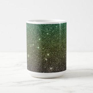 Image of blue yellow green gradient glitter coffee mug