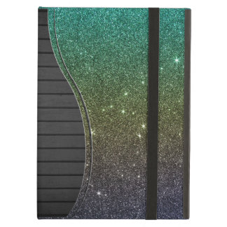 Image of blue yellow green gradient glitter iPad air case
