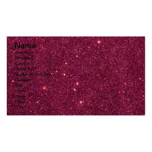 Image of bright pink glitter business card