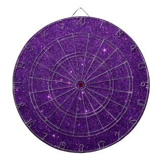 Image of Bright Purple Glitter Dartboard With Darts