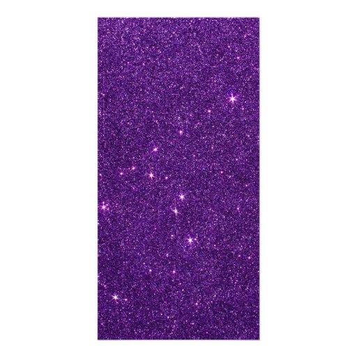 Image of Bright Purple Glitter Customized Photo Card