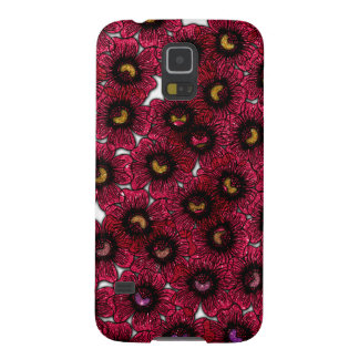 Image of Burgundy Floral Glitter Print Case For Galaxy S5