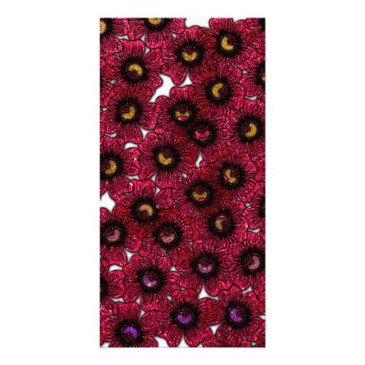Image of Burgundy Floral Glitter Print Photo Cards