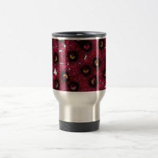 Image of Burgundy Floral Glitter Print Travel Mug