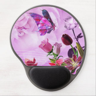 image of butterflies and flowers gel mouse pad
