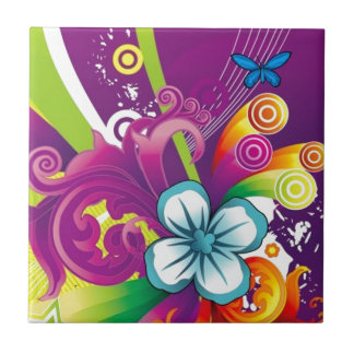 image of flower and butterfly tile