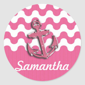 Image of Glitter Anchor Monogogram pink and white Classic Round Sticker