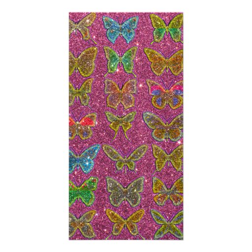Image of Glitter Colorful Butterflies Photo Card Template