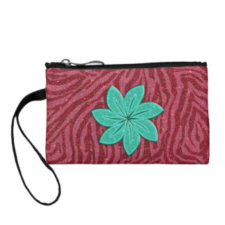 Image of Glitter Pink Zebra Print and Teal Flower Coin Purse