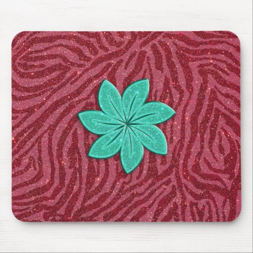 Image of Glitter Pink Zebra Print and Teal Flower Mousepad