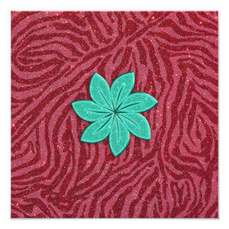 Image of Glitter Pink Zebra Print and Teal Flower Photo