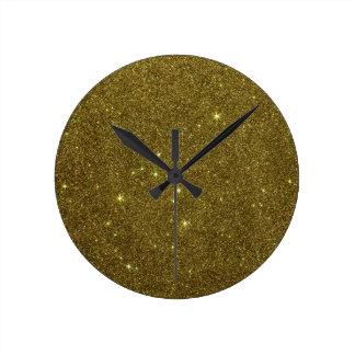 Image of gold Glitter Round Clock