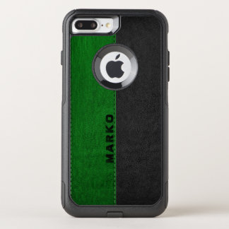 Image Of Green & Black Vintage Leather Monogram OtterBox Commuter iPhone 7 Plus Case