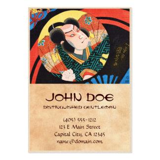 Image of kabuki actor on folding fan Utagawa ukiyo Pack Of Chubby Business Cards