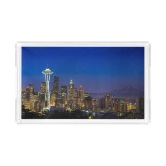 Image of Seattle Skyline in morning hours. Acrylic Tray