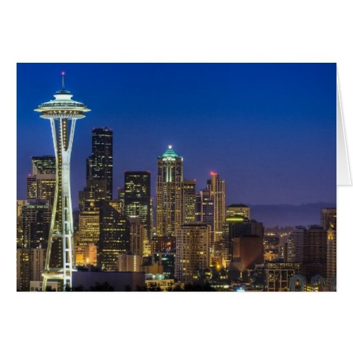 Image of Seattle Skyline in morning hours. Card