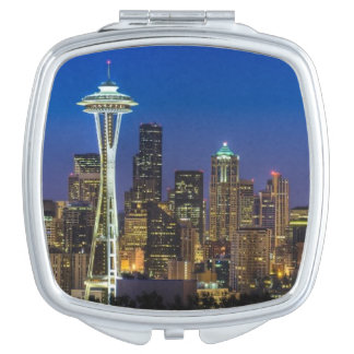 Image of Seattle Skyline in morning hours. Compact Mirror