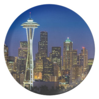Image of Seattle Skyline in morning hours. Dinner Plate
