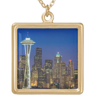 Image of Seattle Skyline in morning hours. Gold Plated Necklace