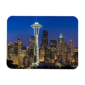 Image of Seattle Skyline in morning hours. Rectangular Photo Magnet