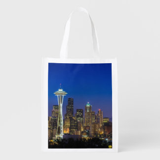 Image of Seattle Skyline in morning hours. Reusable Grocery Bag