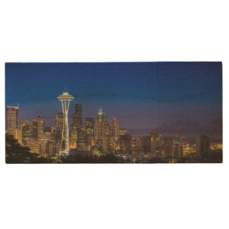 Image of Seattle Skyline in morning hours. Wood USB 2.0 Flash Drive