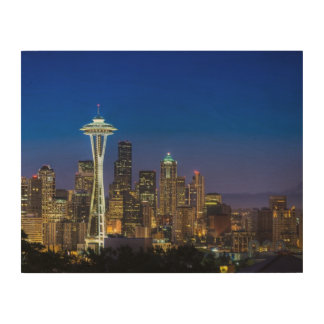 Image of Seattle Skyline in morning hours. Wood Wall Art