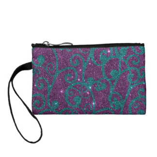Image of swirly purple and turquoise glitter coin purse