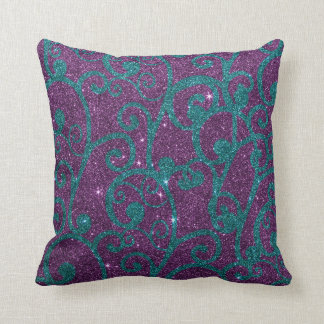 Image of swirly purple and turquoise glitter cushion