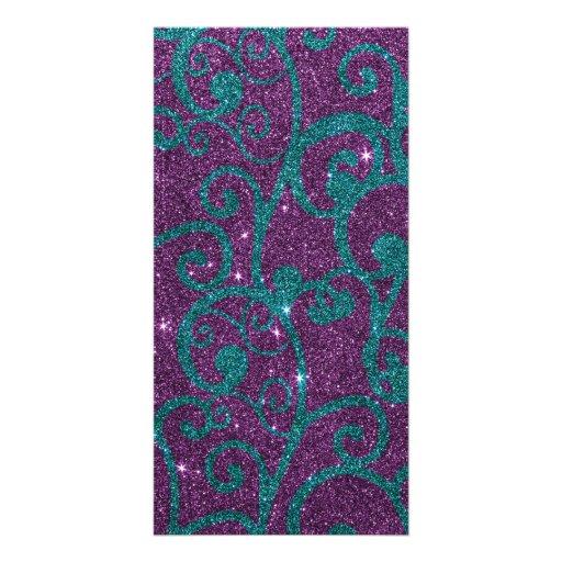 Image of swirly purple and turquoise glitter photo card