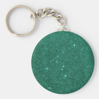 Image of teal glitter basic round button key ring