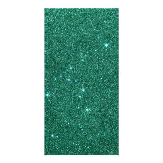 Image of teal glitter photo card
