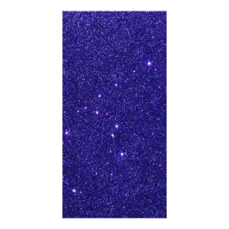 Image of trendy blue glitter personalized photo card