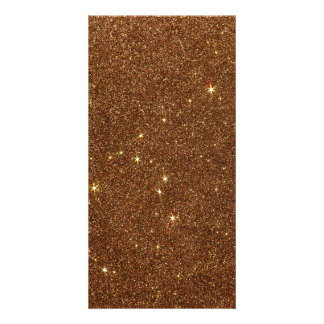 Image of trendy copper Glitter Photo Greeting Card