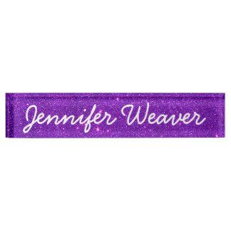 Image of Trendy Deep Purple Glitter Desk Nameplates