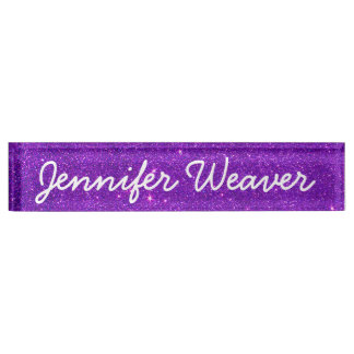 Image of Trendy Deep Purple Glitter Name Plate