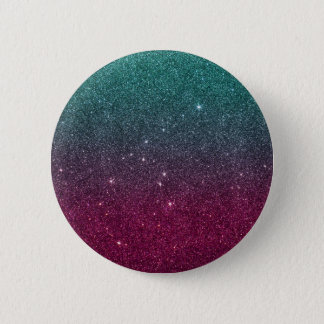 Image of trendy pink and turquoise glitter 6 cm round badge