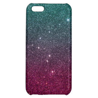 Image of trendy pink and turquoise glitter case for iPhone 5C
