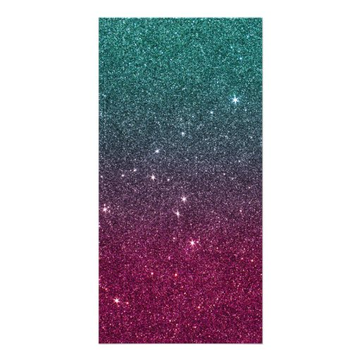 Image of trendy pink and turquoise glitter photo card template