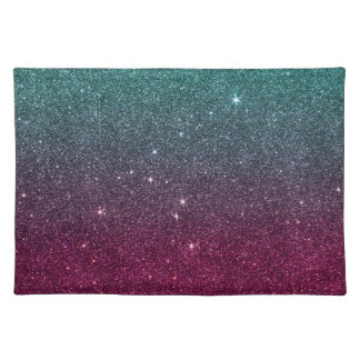 Image of trendy pink and turquoise glitter placemat