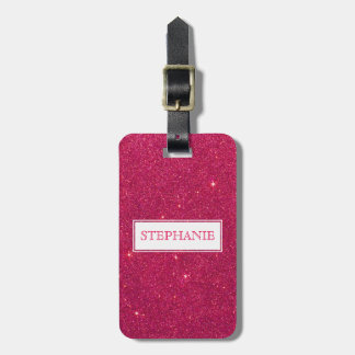 Image of Trendy Pink Glitter Monogram Luggage Tag
