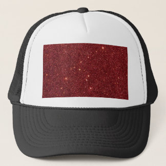 Image of trendy red glitter trucker hat