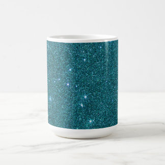 Image of trendy teal glitter coffee mug