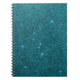 Image of trendy teal glitter notebooks