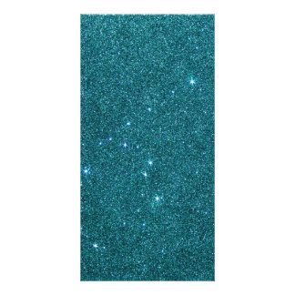 Image of trendy teal glitter photo card template