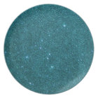 Image of trendy teal glitter plate