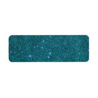 Image of trendy teal glitter return address label